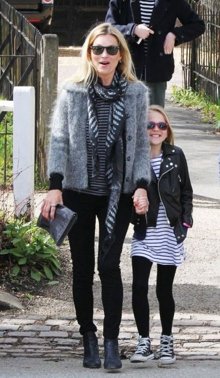 Kate Moss stylish street style grey and striped top outfit