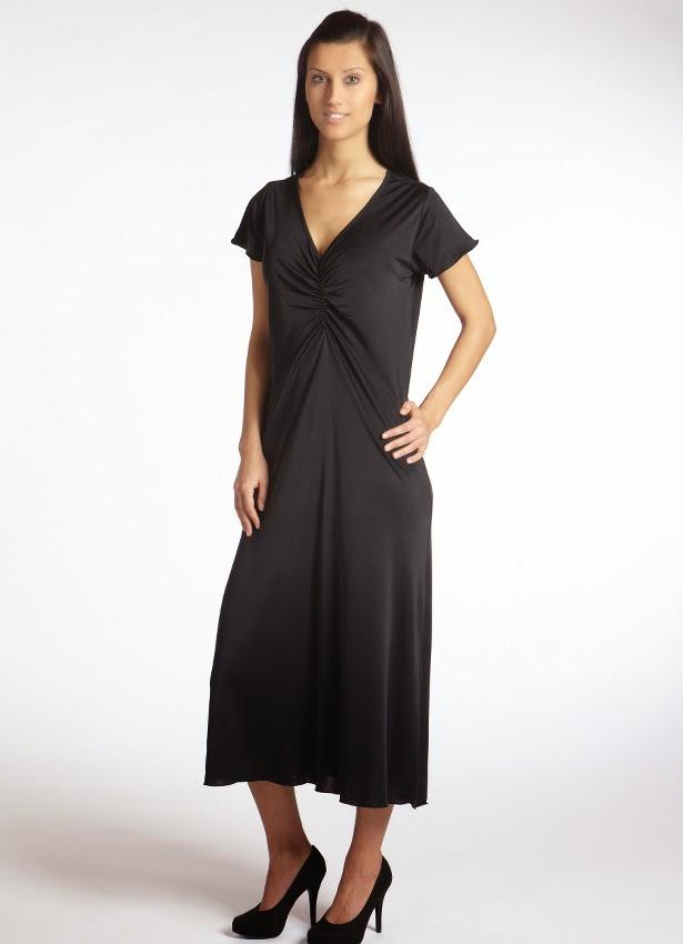 Kurzarm-Nachthemd Moyenne schwarz aus Wirkseide