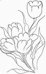 desenho de tulipas para pintar em tecido