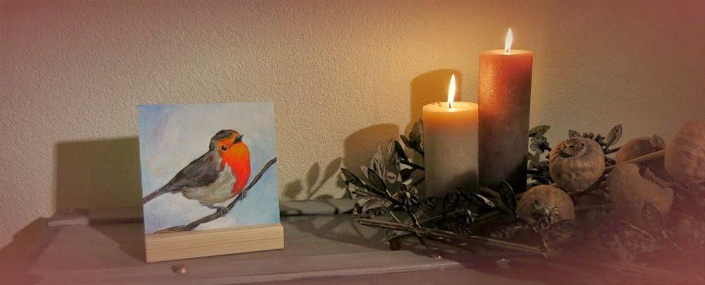 Schilderij roodborstje, kunstcadeautje Atelier for Hope Doetinchem