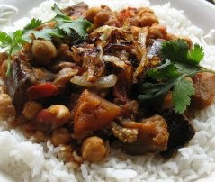 Exotic aubergine and chickpea stew