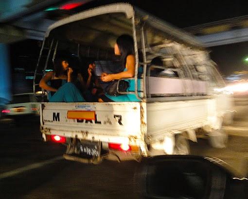 Burmese girls in the night