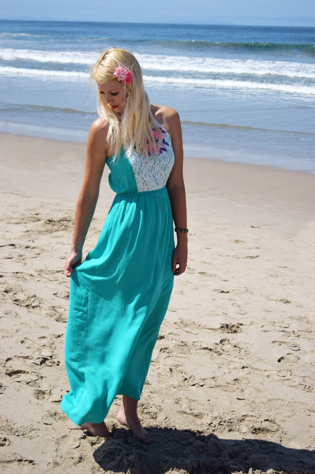 Pinkblush maxi dress, santa monica beach