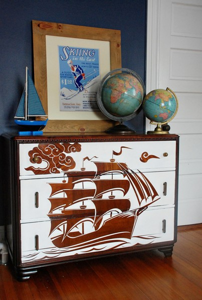 reverse stencil painted dresser with diy by pieces of me via florcom