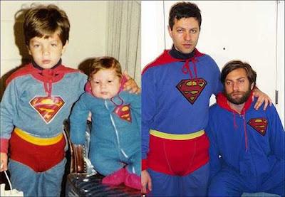 hermanos niños y adultos vestidos de super héroes