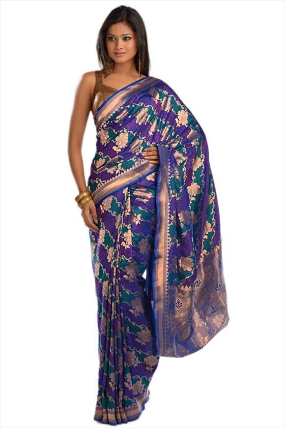 Victoria Blue Kattan Silk Banarasi Saree