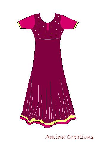 Amina creations anarkali suit with full flare umbrella cut pattern