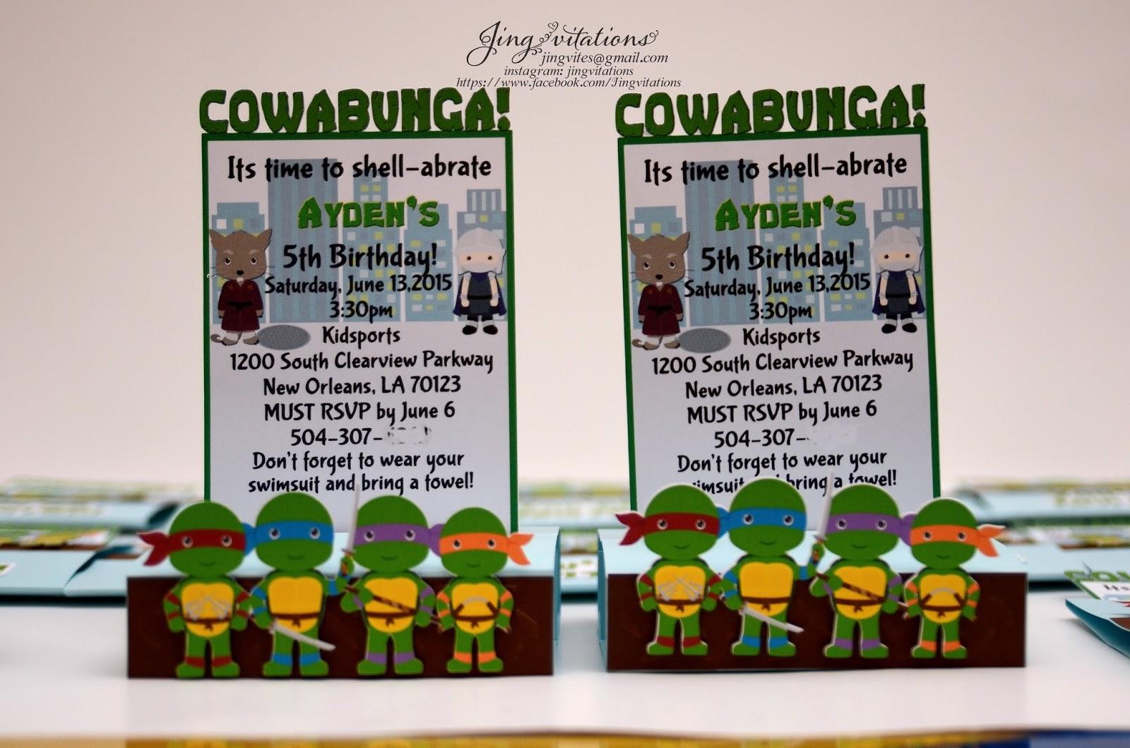 ninja turtles invitations