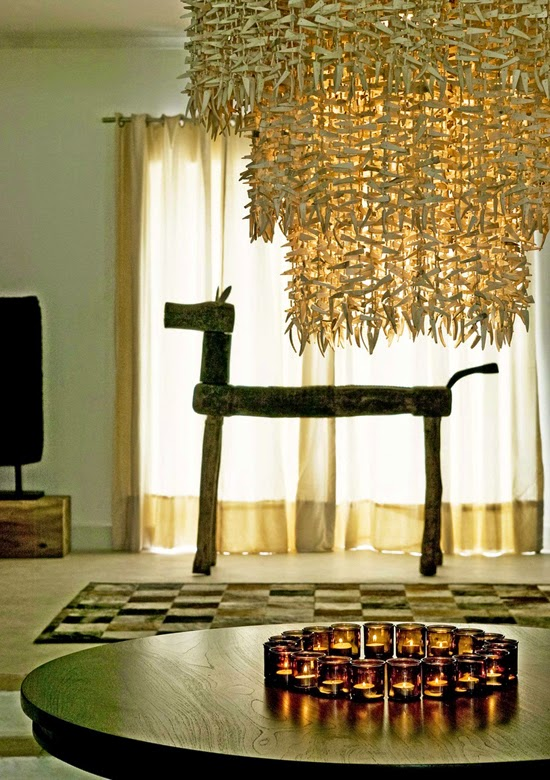 Safari Fusion blog | Light the way [part 2] | Amber glass tea lights and a spectacular grass chandelier at The Oyster Bay Hotel, Dar-es-Salaam Tanzania