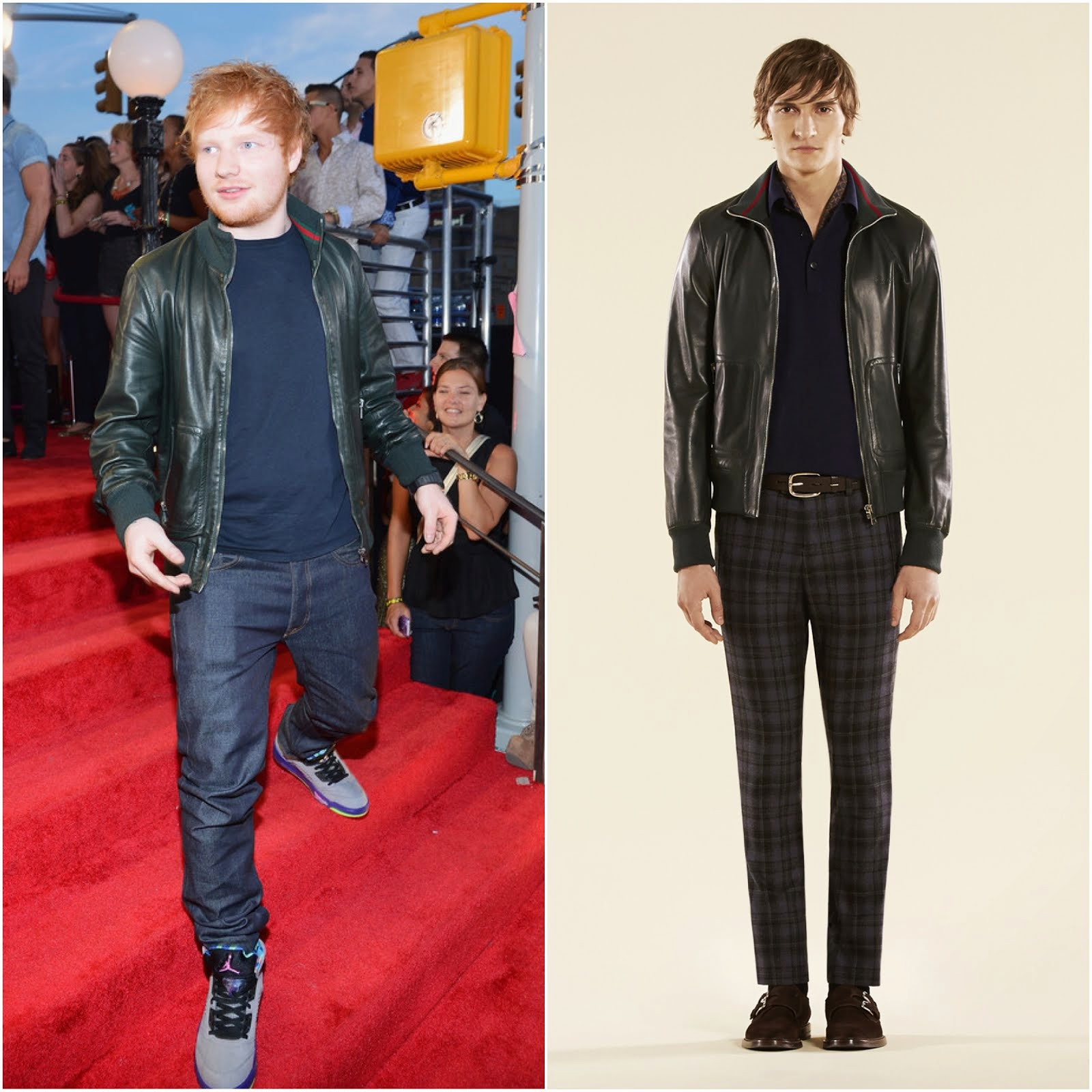 00O00 Menswear blog: Ed Sheeran's dark green plonge Gucci leather bomber jacket - 2013 MTV Video Music Awards