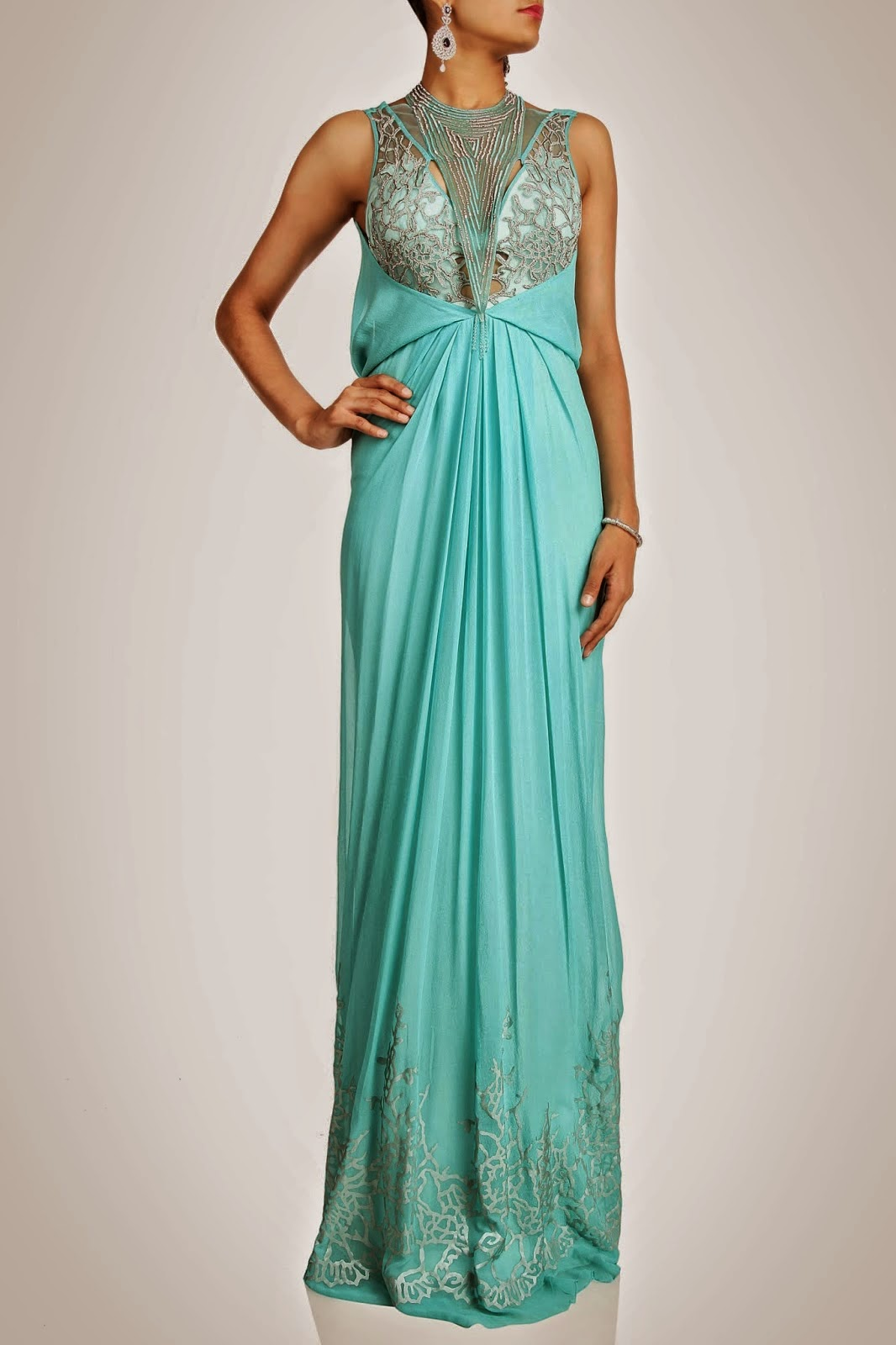 Wedding Gowns Dresses Full Thread Embroidered By Indian Designer ...