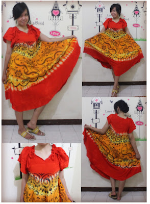 batik pekalongan dress klok merah kuning