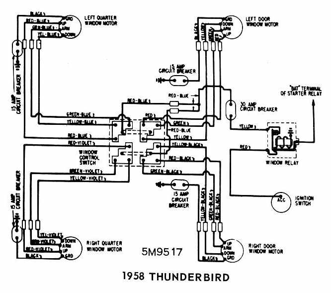Ford+Thunderbird+1958+Windows+Wiring+Diagram ford thunderbird 1958 windows wiring diagram all about wiring 1964 Thunderbird Neutral Safety Switch at bayanpartner.co