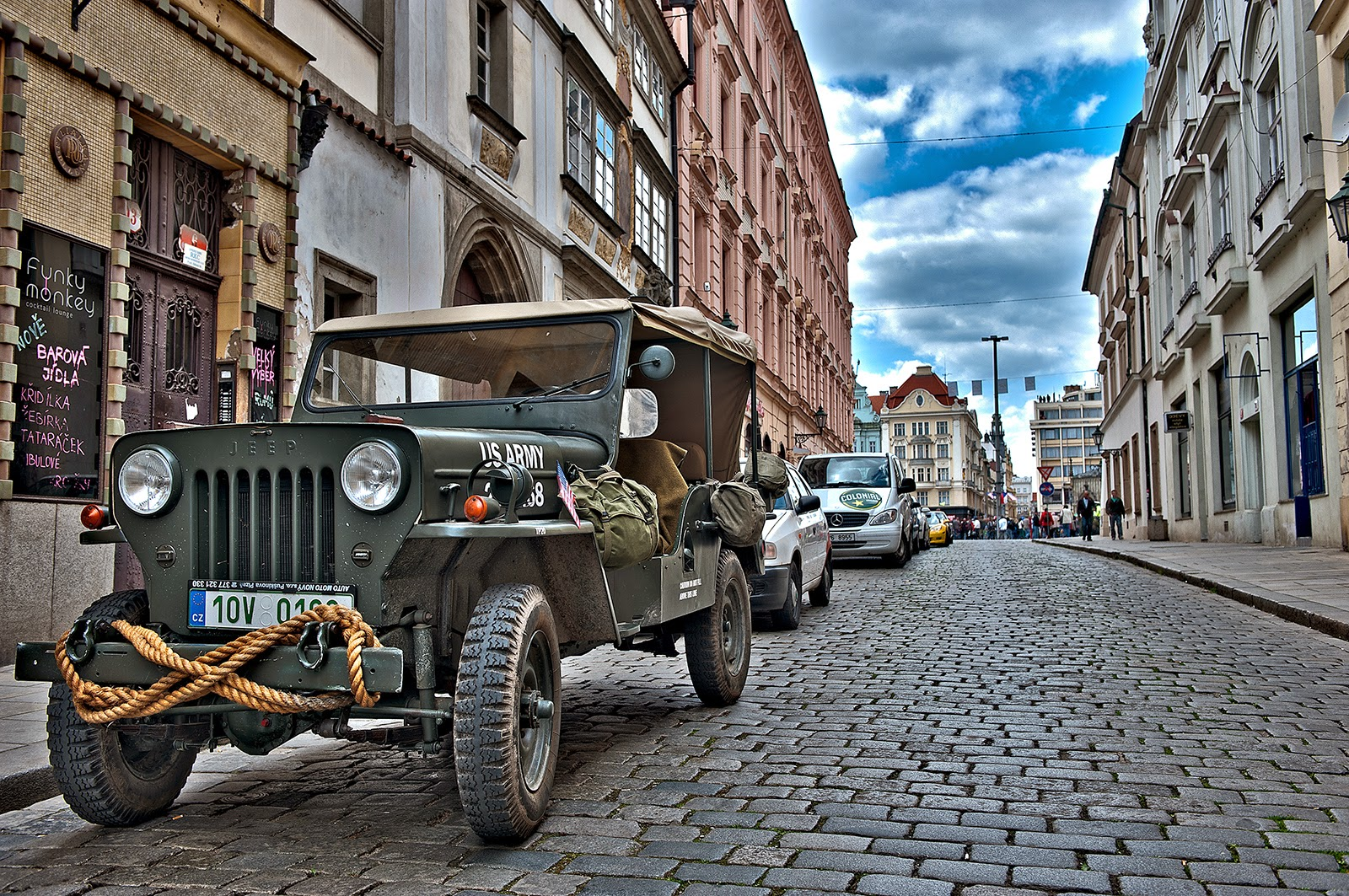 WWII, Plzen, World War II, U.S. WWII soldiers, 16 Armored Division, Liberation of Plzen, Czech Republic, Czechoslovakia, Army Jeep