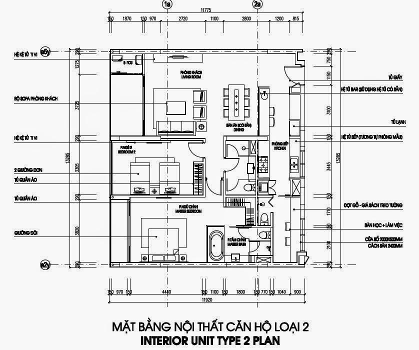 Bản vẽ thiết kế căn hộ CH2 - 152m2 Chung cư Dolphin Plaza