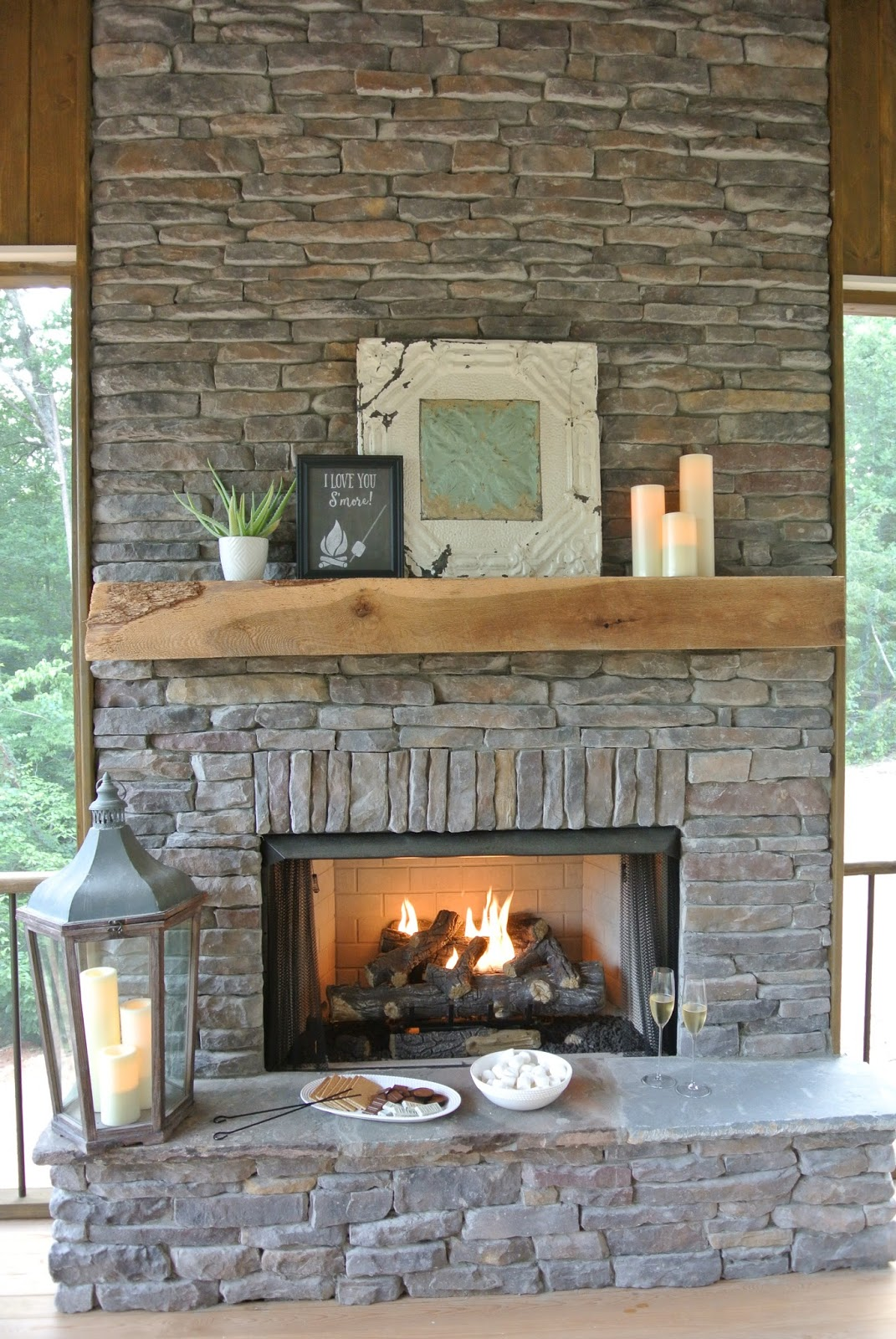 S'mores basket by fireplace mantel via blog.farmtofete.com/