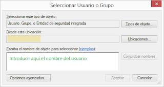 Seleccionar usuario o grupo