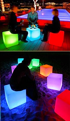 Glow Furniture led glow furniture - cube,table, chair - illuminated glow accents