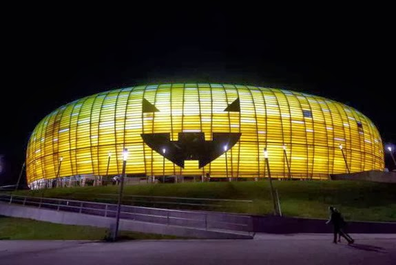 Polish stadium turned into giant pumpkin for Halloween