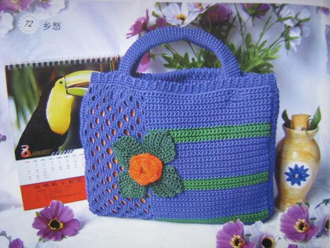 Nane Artesanato: Bolsa azul em crochê com gráfico