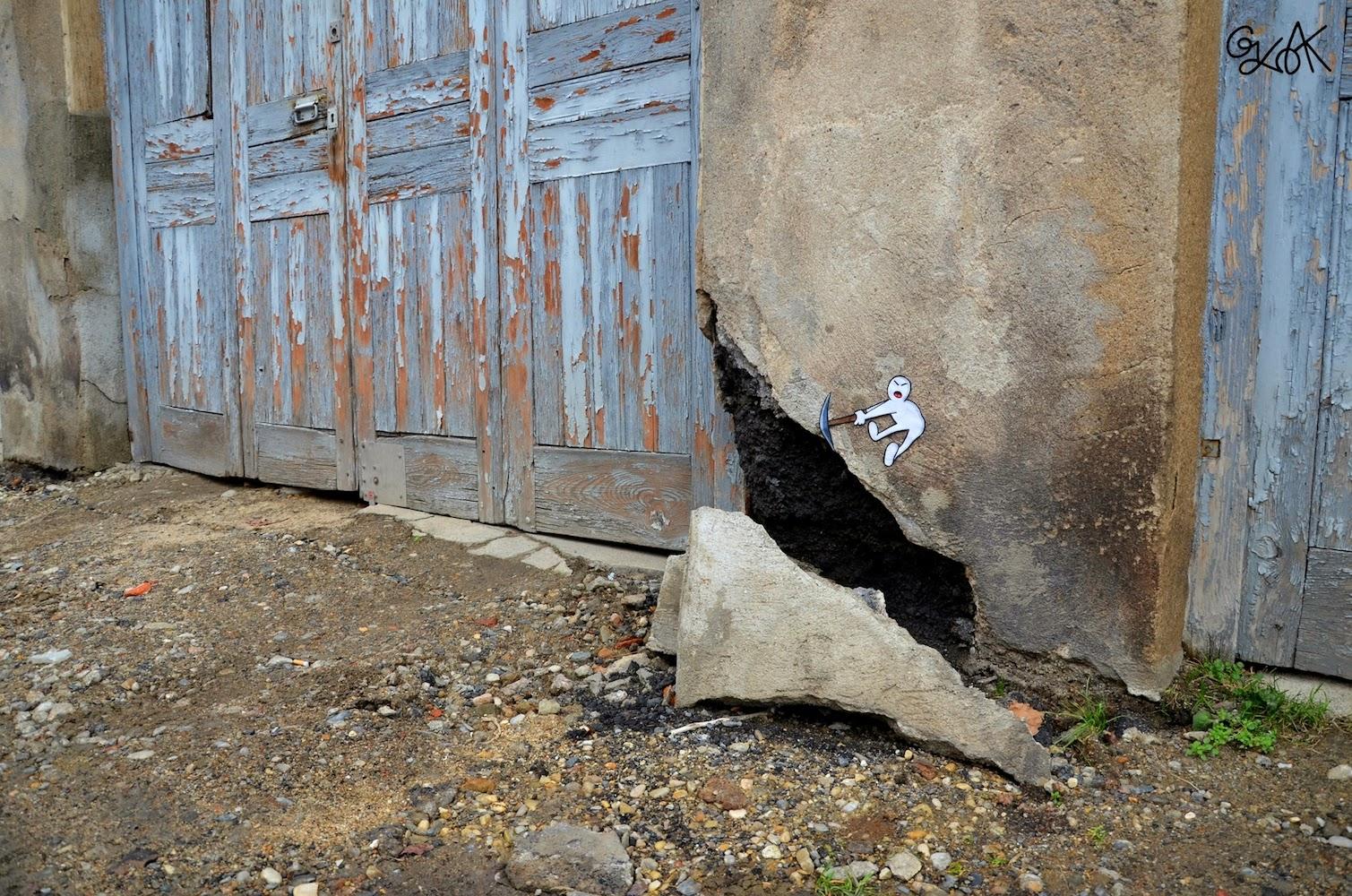 """Pickaxe Head"" New Street Piece by OakOak somewhere in his hometown of Saint Etienne, France. 2"