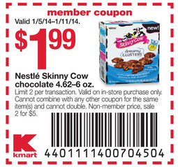 Nestle Skinny Cow Chocolate 4.62-6 oz., $1.99 w/ in ad coupon Limit 2