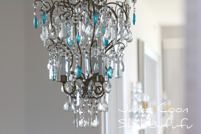 french chandelier with blue crystals