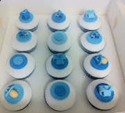 Baby Blue Polka Dot Cupcake PapersWe ended up using two papers per cupcake . (baby shower cupcakes)