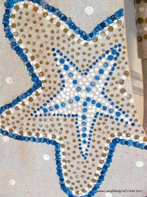 hand painted starfish Christmas stocking