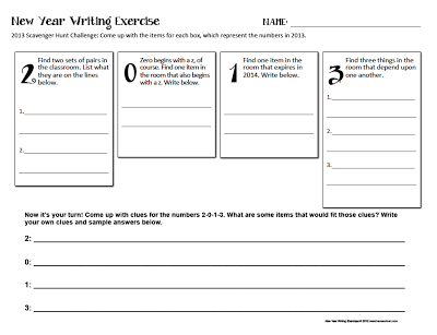 2013 Scavenger Hunt Activity - Creative Activities for the New Year www.traceeorman.com