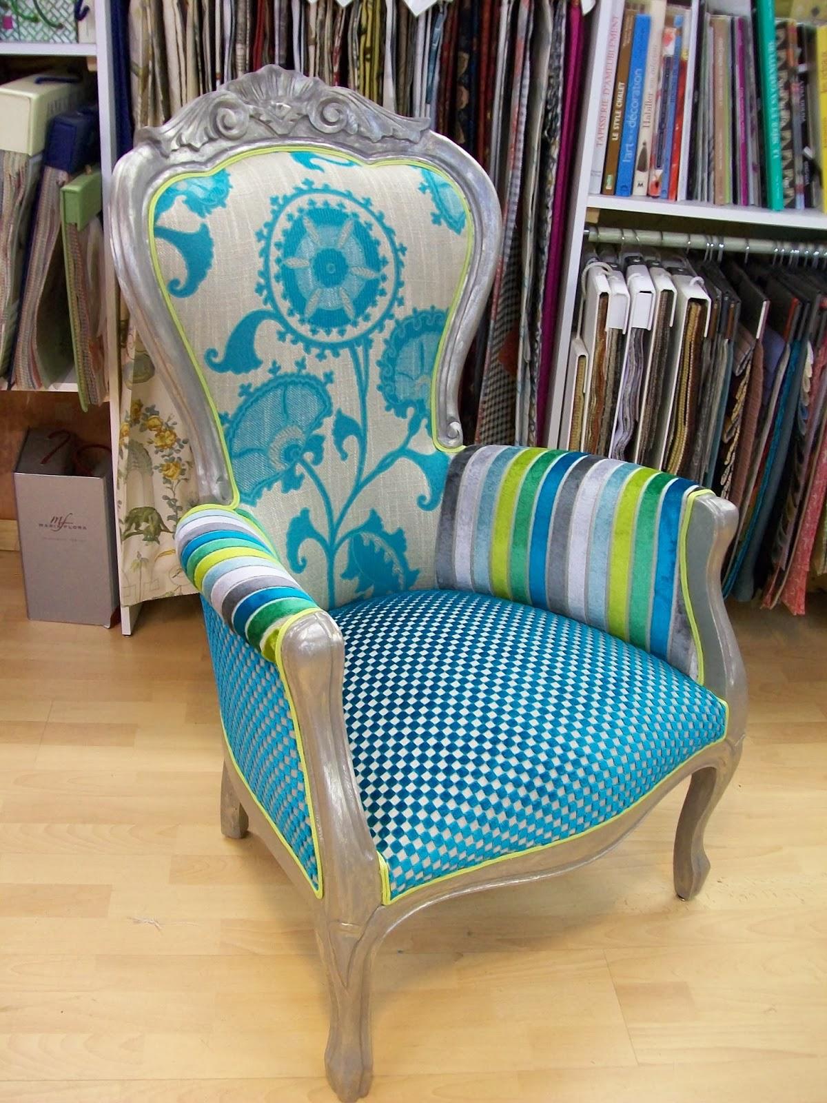L 39 fauteuil louis phillippe relooker et corset - Fauteuil turquoise contemporain ...