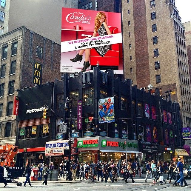 Seriously, you better hope it's your birthday soon, so you can rock out this song for it as Bella Thorne's invitation birthday ticket were emblazoning so nice on the big billboard at New York City's Time Square.