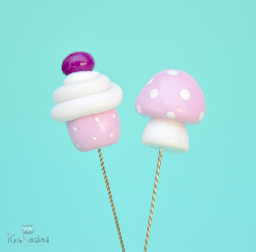 Alfileres seta y cupcakes