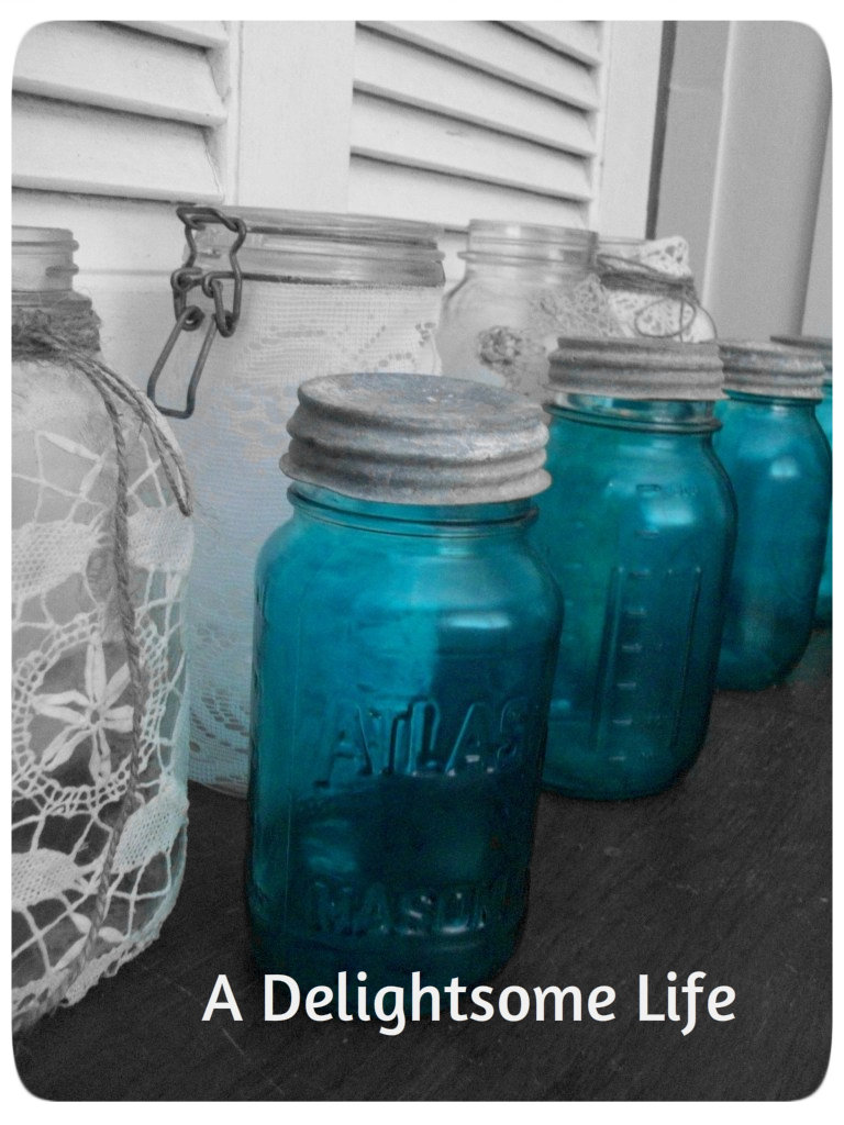 Faux Blue Mason Jars-Updated