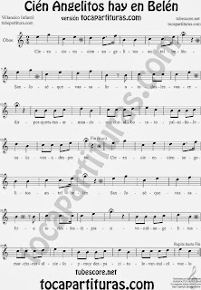 Partitura de Cien Angelitos para Oboe Villancico Infantil Carol Christmas Song Sheet Music for Oboe Music Scores