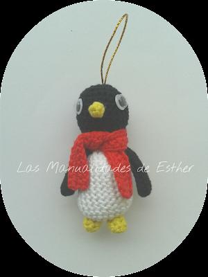 amigurumi pingüino colgante arbol de navidad