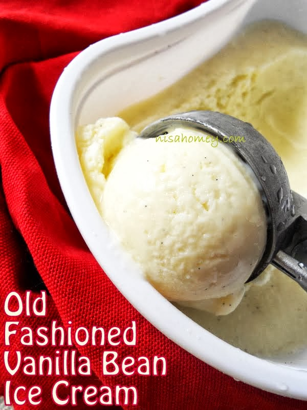 Old fashioned vanilla bean custard ice cream, made with milk, eggs ...