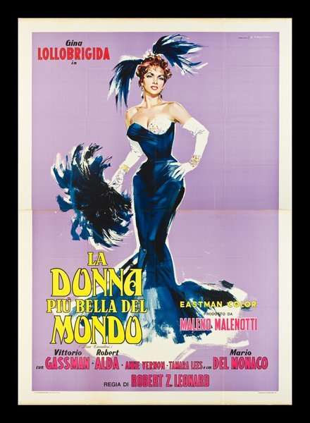 classic posters, free download, graphic design, movies, retro prints, theater, vintage, vintage posters, La Donna Piu Bella del Mondo, Gina Lollobrigida - Vintage Movie Poster