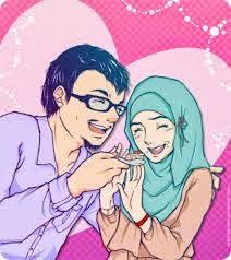 gambar Kartun  Muslim muslimah suami istri
