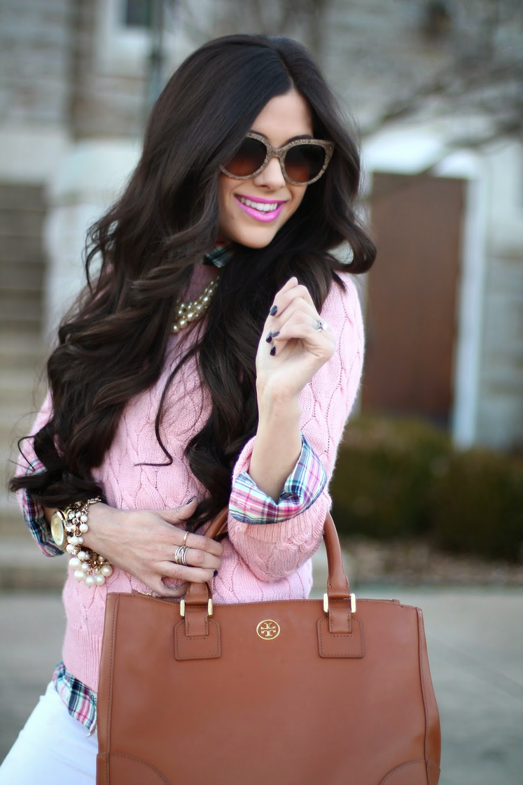www.TheSweetestThingBlog.com, Emily Gemma, Spring Fashion, Pinterest Spring Fashion, Tory Burch Robinson Tote, Tory Burch Kiernan Boots, PRada sunglasses, David Yurman Ring, David Yurman double x, White pants in winter, pastel sweater, pastel plaid, cable knit sweater with plaid, pearls