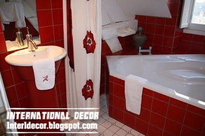 red tones in bathroom tiles and red accessories for bathroom