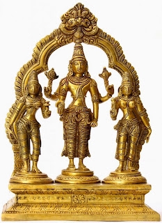 Vishnu, the benevolent lord, flanked by Shreedevi, goddess of heavenly fortune and Bhoodevi, goddess of earthly wealth; South Indian bronze idols