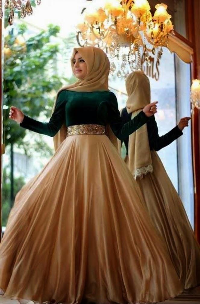busana pesta muslim glamour terbaik, gambar busana muslim mewah untuk