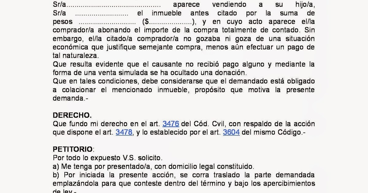 DERECHO SUCESORIO: MODELO DE DEMANDA DE COLACION