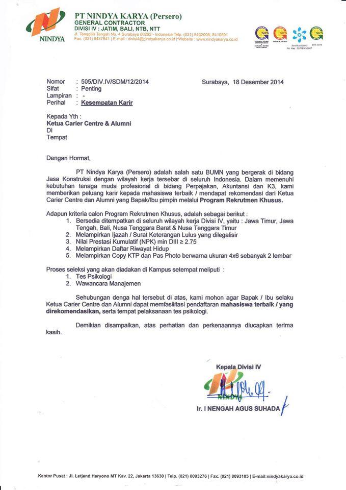 Lowongan Kerja PT Nindya Karya (Persero) Resmi MENPAN