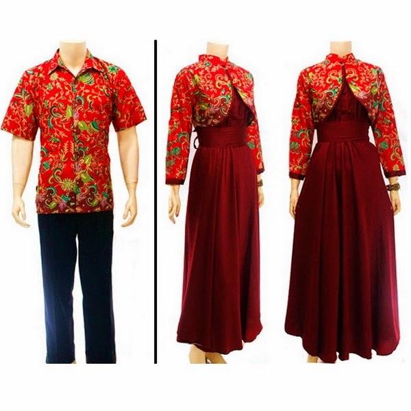 Baju Batik pasangan muslim Polosan Semi Sutra