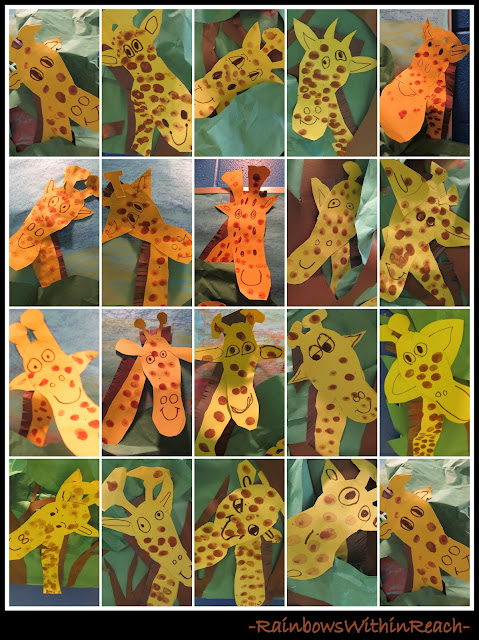 photo of: Tall Giraffe Bulletin Board for zoo unit or jungle theme (Kindergarten Artwork)