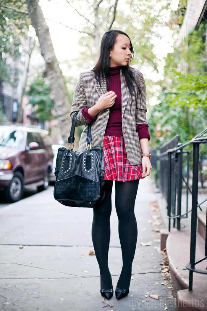 forever 21 tartan plaid skirt, vintage check wool blazer, kate spade block bow pumps, wool turtleneck sweater, diya liu, fashion blog, new york style blog