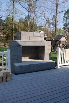 Cinder Blocks Outdoor Fireplace