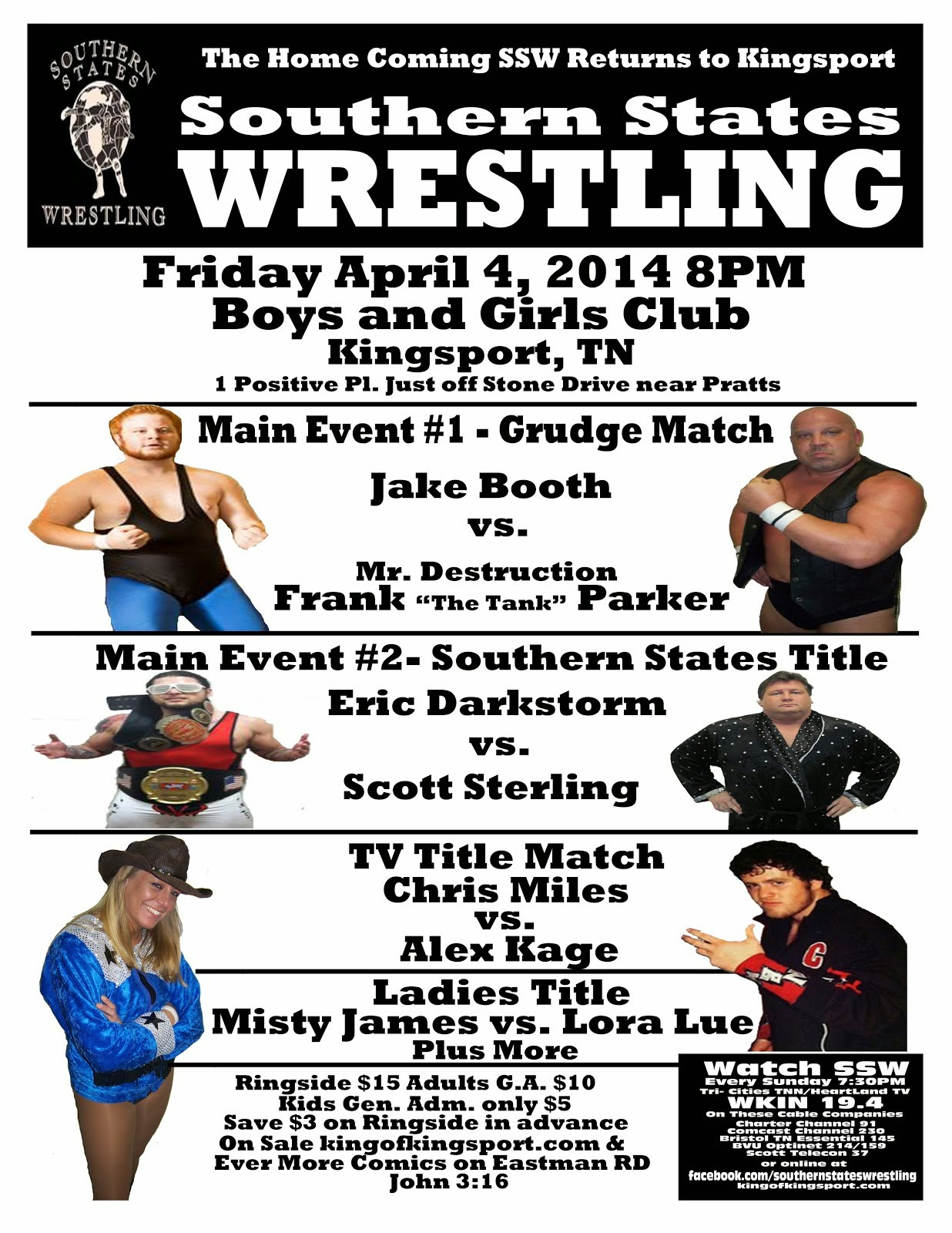 SSW Kingsport April 4 Ringside only $12 here